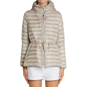 Moncler Raie beige hooded down filled coat